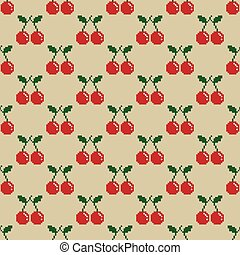 Cherry Pixel Vector Seamless Pattern fruit illustration isolated wallpaper background