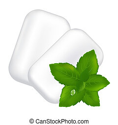 Chewing Gum And Fresh Mint Leaves