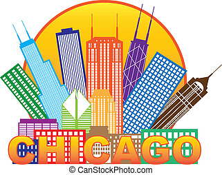 Chicago City Skyline Panorama Color Outline Silhouette in Circle with Text Isolated on White Background Illustration