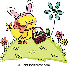 Chick with bunny ears holding basket with easter eggs in garden
