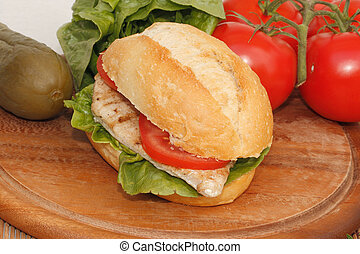Chicken with Salad and tomato in a bun