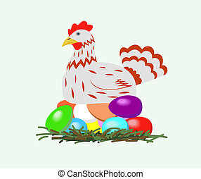 Chicken with easter eggs.