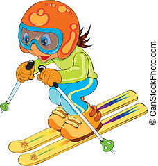vectors illustration shows a child skiing