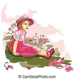 Child On Flower Meadow