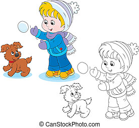 Little boy or girl and puppy playing snowballs