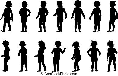 child standing, black silhouettes, fourteen different postures