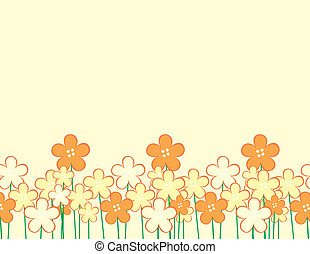 background with childlike flowers and copyspace