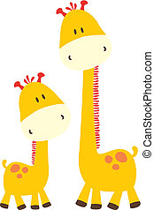 baby giraffe and mom, vector format very easy to edit, individual objects