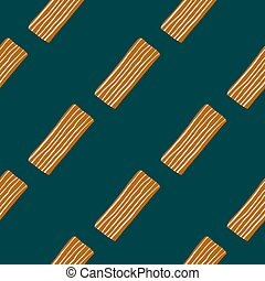 Childish seamless pattern with orange-lined rectangles. Dark green background.