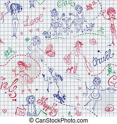 Childish style hand drawn seamless