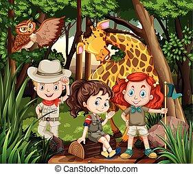 Children and wild animals in the woods
