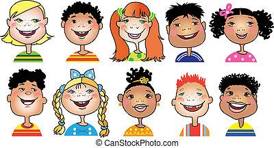 Ten cartoon portraits of children of different nationalities