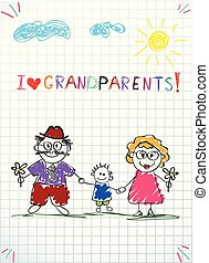 Children colorful hand drawn vector greeting card with grandpa, grandma and grandson together.