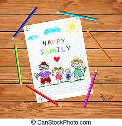 Children colorful hand drawn vector illustration of man, woman and children holding hands together