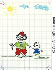 vector illustration of granddad and grandson together holding hands