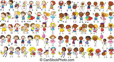 Illustration of diverse kids doodle