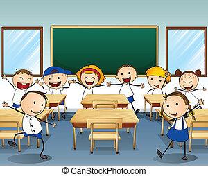 Children dancing inside the classroom
