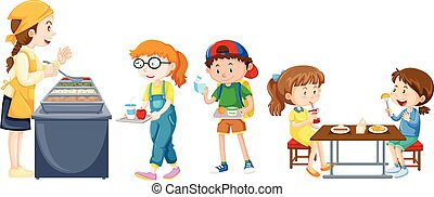 Children eating on table at canteen illustration