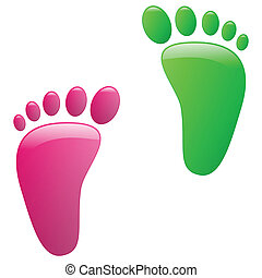 Illustration of childrens footprints on a white background.