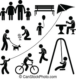 A set of people icon showing the situation of garden or playground.