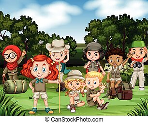 Children hiking in the woods