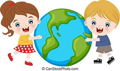 children hugging the earth