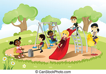 A vector illustration of a group of multi-ethnic children playing in the playground