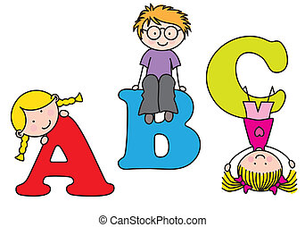 Children playing and learning the alphabet