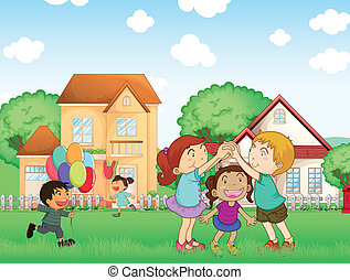 Illustration of the children playing outside