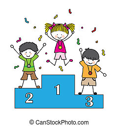 Children playing sports. Medal on the podium