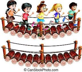 Children running across the wooden bridge