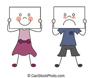 Children showing their emotions