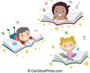 Illustration of Kids Lying on Books