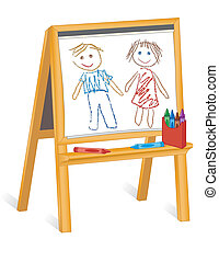 Wood easel, child's crayon drawings of boy and girl, pad of paper, box of crayons, copy space. For preschool, daycare, nursery school, kindergarten. EPS8 in groups for easy editing.