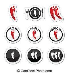 Vector red and black labels set of chili peppers isolated on white