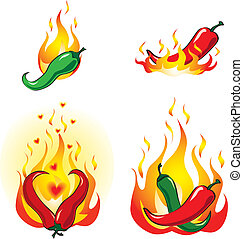 Hot and spicy chili peppers