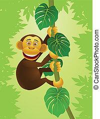 Chimpanzee cartoon in the jungle