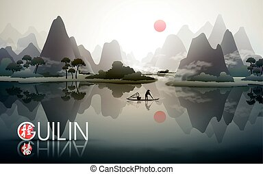 China Guilin travel poster with natural scenery, fisherman with fish trap, and Chinese words of Guilin in the bottom left corner
