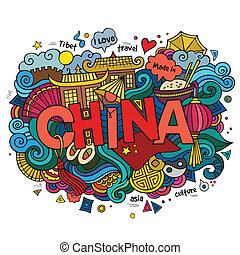 China hand lettering and doodles elements background. Vector illustration