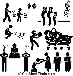 A set of people pictogram representing the people of Chinese praying and practicing their tradition and culture.