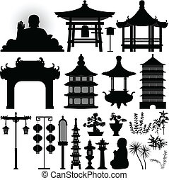A set of Chinese temple design element.