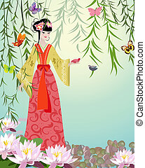 Chinese Girl with birds