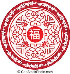chinese new year round icon pattern