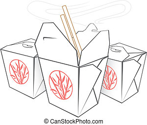 Three boxes with Chinese takeout food and a pair of chopsticks