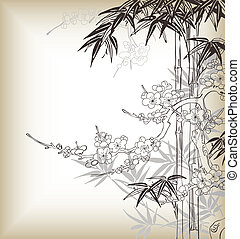 asia style tree branch, bamboo, pine, cherry blossom are good use for chinese/japanese lunar new year.