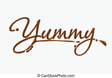 Chocolate yummy text made of chocolate vector design element.
