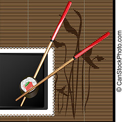 on the black background with abstract imitation of board are sushi and chopsticks