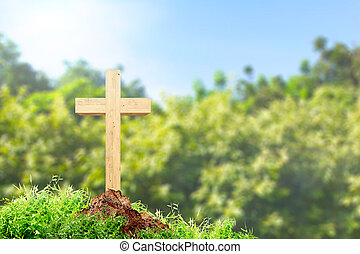 Christian cross on the ground with green grass