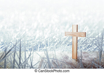 Christian cross on the wooden floor