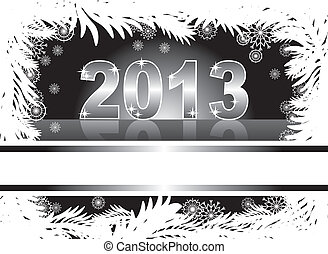 christmas and new year card with 2013 on a black winter background
